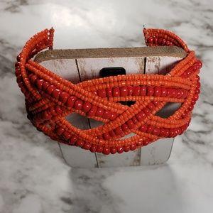 Beaded Bohemian Cuff Bracelet Orange